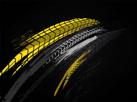 Plantilla de banner automotriz de vector. Fondo de huellas de neumáticos de grunge para cartel de paisaje, banner digital, volante, folleto, folleto y diseño web. Imagen gráfica editable en colores negro y amarillo.