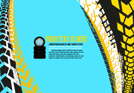Vector automotive banner template. Grunge tire tracks backgrounds for landscape poster, digital banner, flyer, booklet, brochure and web design. Editable graphic image in bright colors