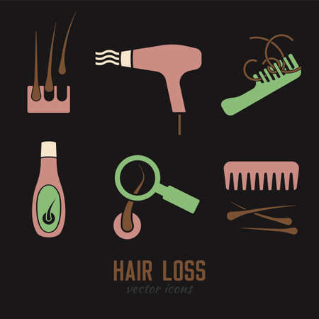 Hair loss icons set. Vector illustration in flat style isolated on a dark grey background. Beauty, dermatology and health care concept in green, pink and brown colors. Illustration