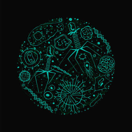 Microorganisms and viruses hand-drawn image. Single celled microbes pattern. Editable vector illustration in glowing green color isolated on a black background. Biological concept in unique style.