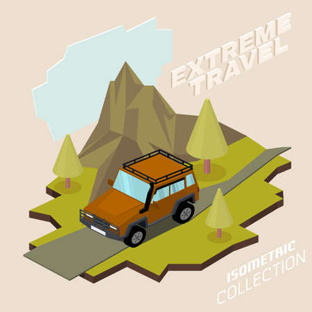 Off road vehicle with roof rack driving through the mountains. Extreme travel concept in natural colors. Editable vector illustration in 3D isometric style. 스톡 콘텐츠 - 112234676