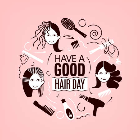 Have a great hair day. Square poster with woman faces in light pink and brown colors. Editable vector illustration. Beauty, fashion and lifestyle creative concept.