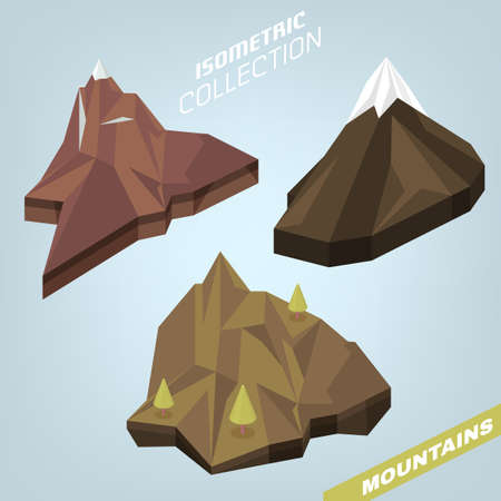 3D isometric mountains isolated on a light background. Editable vector illustration.