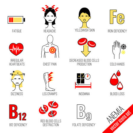 Síntomas de la anemia y conjunto de iconos de causas. Concepto médico y sanitario. Ilustración vectorial editable en estilo moderno.