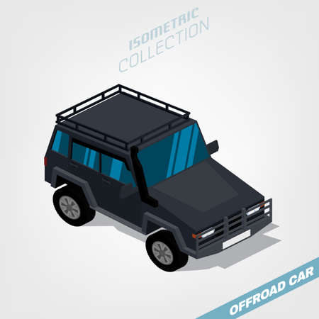 Off road vehicle with roof rack  in front top view isolated on a white background. Luxury high class car in 3D isometric style. Transportation concept. Editable vector illustration. Illustration