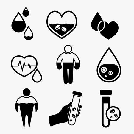 Anemia and Hemophilia icons set in black color. Heart shape, dropping blood, test-tubes signs isolated on a light background in flat style. Haemophilia disease awareness symbol. Vector illustration.