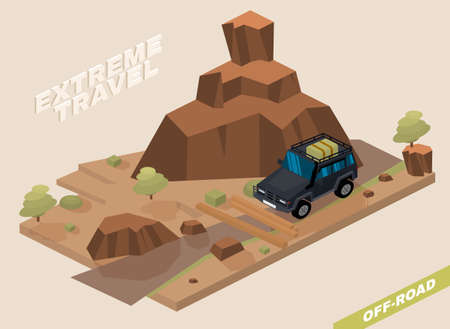Off road vehicle with roof rack driving through the mountains. Extreme travel concept in natural colors. Editable vector illustration in 3D isometric style.