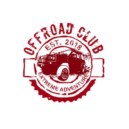 극한 경쟁 상징. 오프로드 SUV 어드벤처 및 자동차 이벤트 디자인 요소. 질감 된 배경에 고립 된 붉은 색의 아름 다운 벡터 일러스트. 스톡 콘텐츠 - 106346628