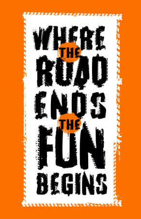 Off road quote lettering. Grunge words made from unique letters. Vector illustration useful for poster, print and T-shirt design. Editable graphic element in orange, black and white colors. Çizim