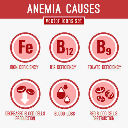 Anemia causes icons set. Medical and healtcare concept in red, white and pink colors. Editable vector illustration in modern style.