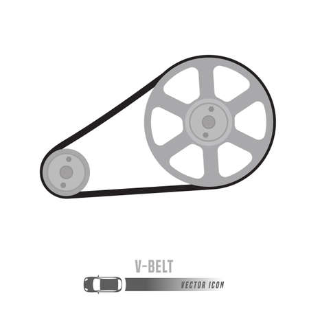 Imagen de la correa trapezoidal. Icono de repuestos en colores en escala de grises. Ilustración vectorial editable aislada sobre fondo blanco. Concepto de automoción.