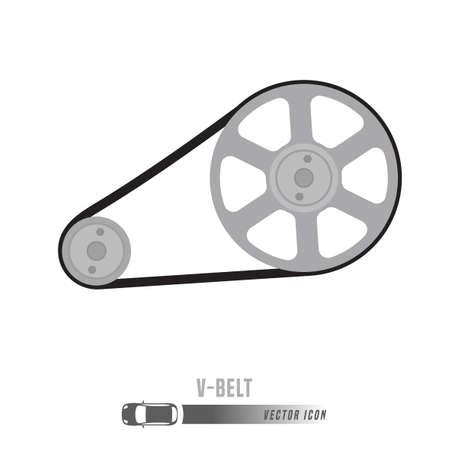 V-벨트 이미지. 회색조 색상의 예비 부품 아이콘입니다. 편집 가능한 벡터 일러스트 레이 션 흰색 배경에 고립입니다. 자동차 개념입니다.