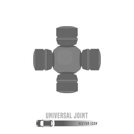 Universal joint image. Spare parts icon in greyscale colors. Editable vector illustration isolated on a white background. Automotive concept.