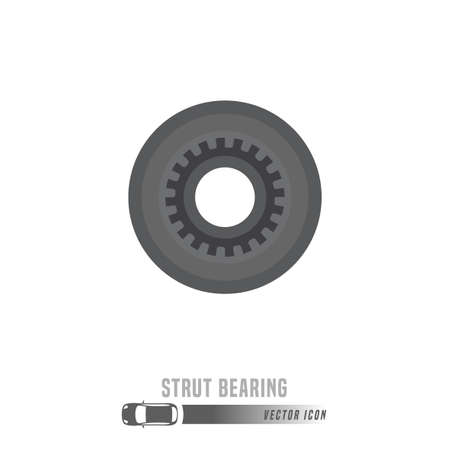 Strut bearing image. Spare parts icon in greyscale colors. Editable vector illustration isolated on a white background. Automotive concept.