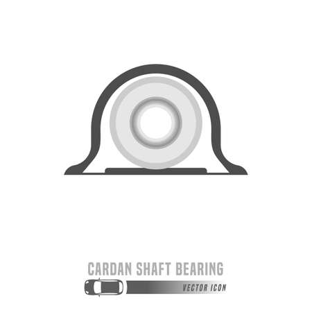 Cardan shaft bearing image. Spare parts icon in greyscale colors. Editable vector illustration isolated on a white background. Automotive concept. Ilustracja