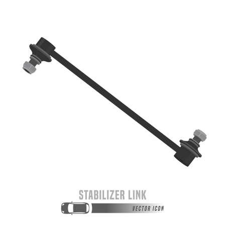 Image du lien du stabilisateur. Icône de pièces de rechange en couleurs en niveaux de gris. Illustration vectorielle modifiable isolée sur fond blanc. Concept automobile. Vecteurs