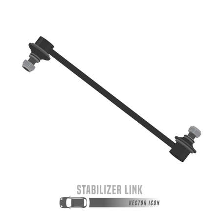 Stabilizer link image. Spare parts icon in greyscale colors. Editable vector illustration isolated on a white background. Automotive concept.