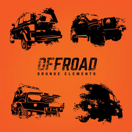 Off-road logo elements set. Extreme competition emblem. Off-roading suv adventure and car club design materials. Beautiful vector textured  illustration in black color isolated on orange background. 向量圖像
