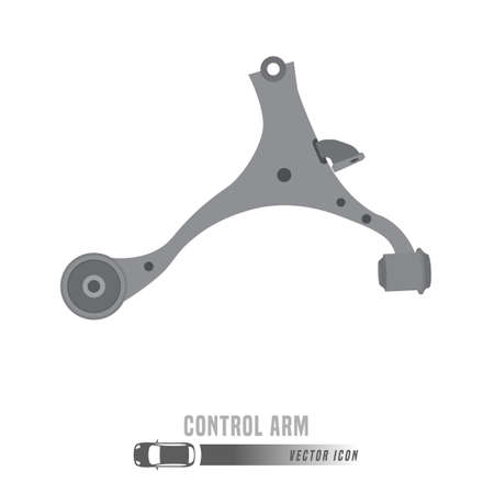 Car suspension arm image. Spare parts icon in greyscale colors. Editable vector illustration isolated on a white background. Automotive concept. Foto de archivo - 111900764