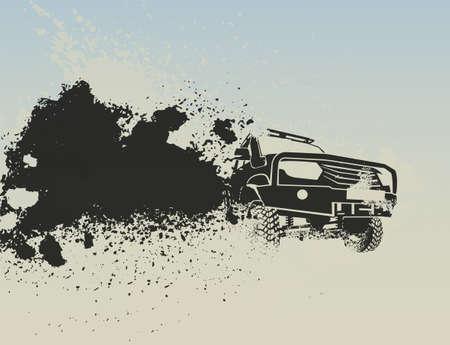 Auto fuoristrada che si muove velocemente con una nuvola di polvere dietro. Illustrazione vettoriale modificabile in colore grigio isolato su uno sfondo chiaro. Viaggio estremo. Evento di resistenza o concetto di rally difficile.