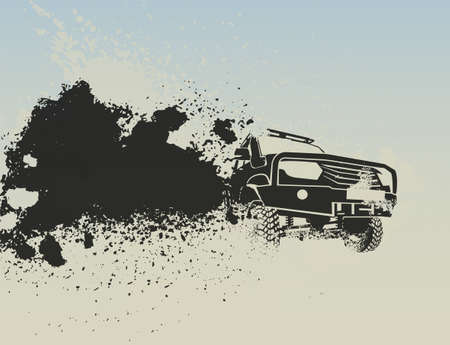 Off-road car moving fast with a cloud of dust behind. Editable vector illustration in grey color isolated on an light background. Extreme travel. Endurance event or tough rallying concept. Illustration