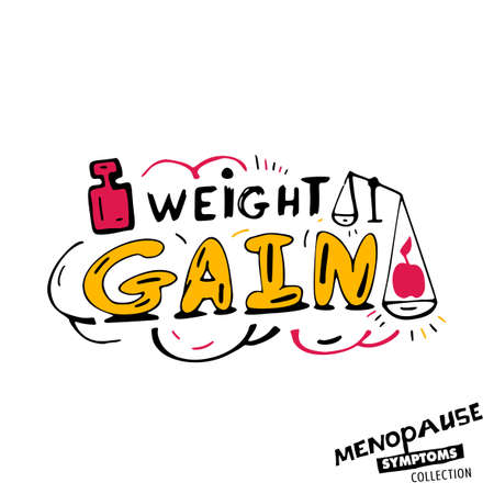 Weight gain. Vector illustration with hand drawn lettering in bright colours isolated on a white background. Menopause symptoms and physical changes collection. Women health concept