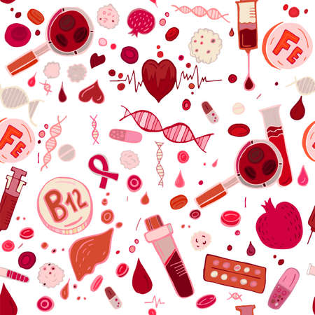 Creative anemia seamless pattern in doodle style. Hand drawn vector illustration in red and pink colors isolated on white background. Medical, healthcare and educational concept. Illustration