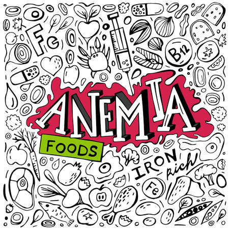 Creative anemia background with lettering in doodle style. Hand drawn vector illustration in black color isolated on white background. Iron-Rich Foods. Medical, healthcare and educational concept.