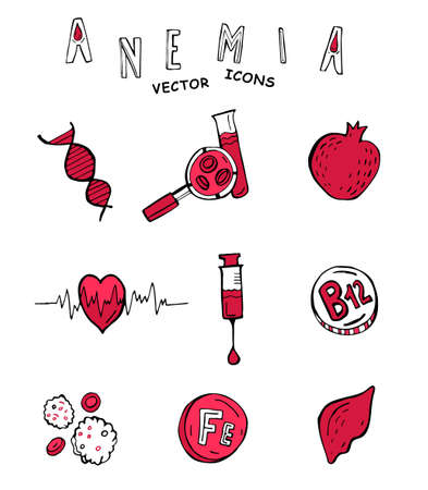 Creative anemia icons in doodle style. Hand drawn vector illustration in black and pink colors isolated on white background. Medical, healthcare and educational concept. Medical pictograms set.