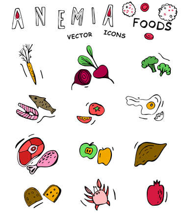 Foods you should be eating if you are anemic. Icons set in bright colors. Editable vector illustration in doodle style isolated on a white background. Medical, scientific and educational concept