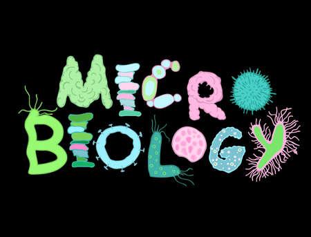 Letras de bacterias biológicas con microbios y gérmenes. Letras dibujadas a mano únicas para el diseño de microbiología. Ilustración vectorial editable en colores azul, verde y rosa aislado sobre fondo negro.