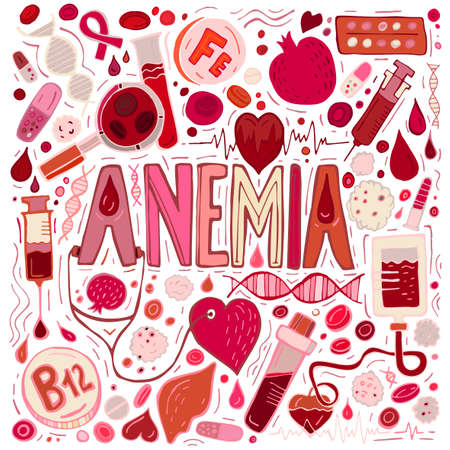 Creative anemia background with lettering in doodle style. Hand drawn vector illustration in red and pink colors isolated on white background. Medical, healthcare and educational concept. Illustration
