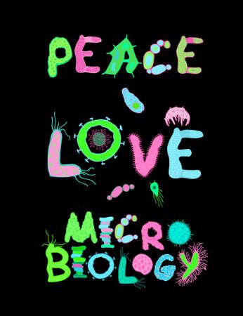 Microbiologie de l'amour de la paix. Affiche verticale créative aux couleurs luminescentes. Lettrage microbiologique dessiné à la main. Illustration vectorielle modifiable sur fond noir. Conception graphique scientifique et biologique.