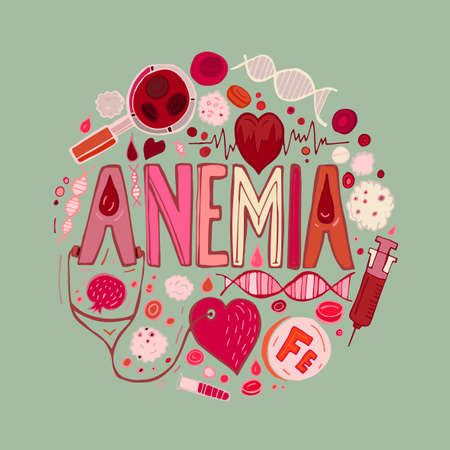 Creative anemia background with lettering in doodle style. Hand drawn vector illustration in red and pink colors isolated on light green background. Medical, healthcare and educational concept.