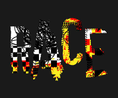 Off-Road speed racing. Unique grunge lettering on a dark grey background. Creative race headline. Beautiful vector illustration. Editable graphic element in black, yellow, white and red colors.