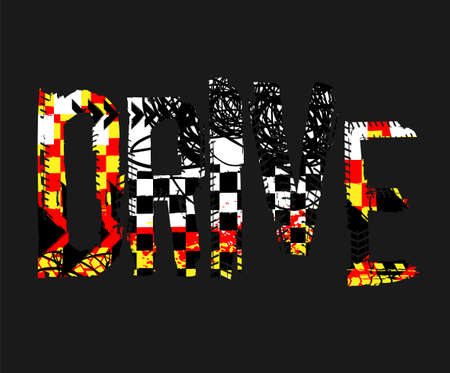 Off-Road speed racing. Unique grunge lettering on a dark grey background. Creative drive headline. Beautiful vector illustration. Editable graphic element in black, yellow, white and red colors.