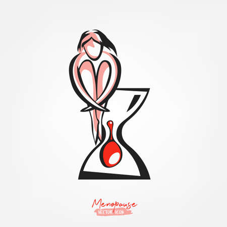 Menopause vector icon. Editable illustration with a sad sitting woman and a sandglass in pink, red and black colors isolated on a white background. Medical, healthcare and feminine concept.
