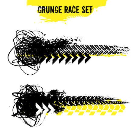 Juego de carreras de grunge. Ilustración de vector de pistas de neumáticos. Elementos automotrices útiles para carteles, impresiones, volantes, diseño de folletos. Gráficos editables en colores negros, amarillos aislados sobre fondo blanco. Ilustración de vector