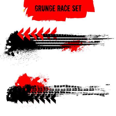 Grunge Race Set. Reifenspurenvektorillustration. Automobilelemente nützlich für Plakat-, Druck-, Flyer-, Flugblattdesign. Bearbeitbare Grafiken in den Farben Schwarz und Rot, isoliert auf weißem Hintergrund.