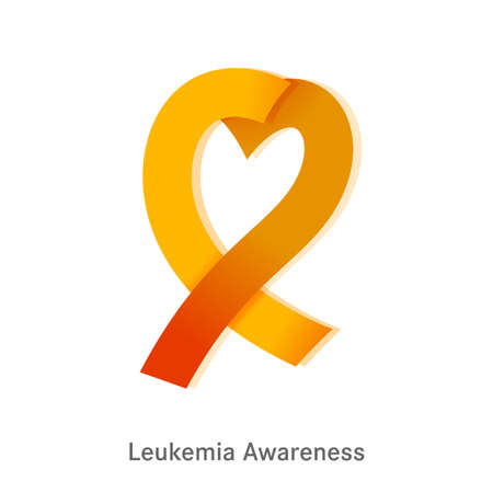 Leukemia icon. Orange ribbon with heart shape inside isolated on a white background. Leukaemia disease awareness symbol. Editable vector illustration. Medical, scientific and healthcare concept. 일러스트