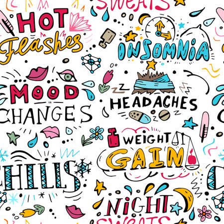 Menopause symptoms and physical changes seamless pattern with hand drawn lettering. Editable vector illustration in doodle style on white background. Female health, woman life collection.  イラスト・ベクター素材