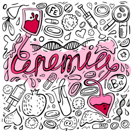 Creative anemia background with lettering in doodle style. Hand drawn vector illustration in black and pink colors isolated on white background. Medical, healthcare and educational concept.