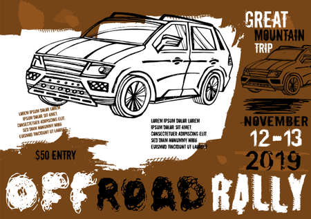 Off-road event vector poster. Landscape illustration in grunge style with hand drawn lettering. Portrait layout in black, brown, white colours useful for placard or print design. Automotive concept.