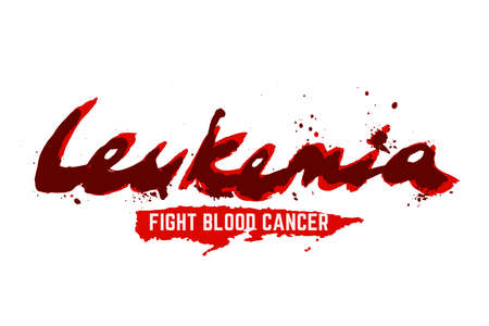 Leukemia lettering. Vector illustration in deep red color with liquid hematic letters isolated on a white background. leucaemia disease awareness symbol. Fight blood cancer concept. Фото со стока - 110241158