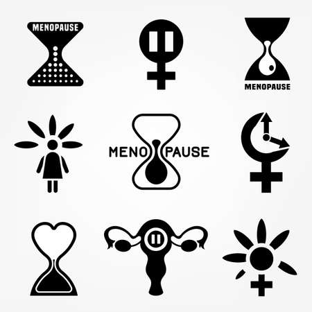 Menopause vector icons set. Editable illustration in black color isolated on a white background. Medical, healthcare and feminine concept. Female health awareness sign collection.