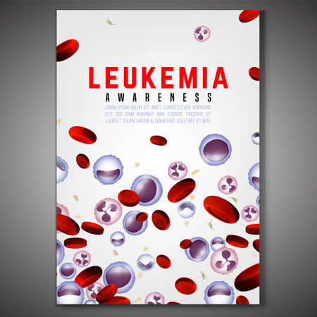 Leukemia vertical poster. White and red blood cells  in bright colors. Leukaemia disease awareness. Editable isolated vector illustration. Medical, scientific and healthcare concept.