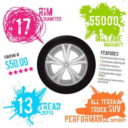 Tire infographic. Vector illustration. Grunge automotive elements useful for poster, print, flyer, report, leaflet design. Editable graphic image in bright colors isolated on a white background. Ilustração