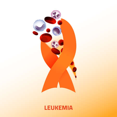 Leukemia icon. Orange ribbon and blood cells in modern style isolated on light background. Leukaemia disease awareness symbol. Editable vector illustration. Medical, scientific and healthcare concept.