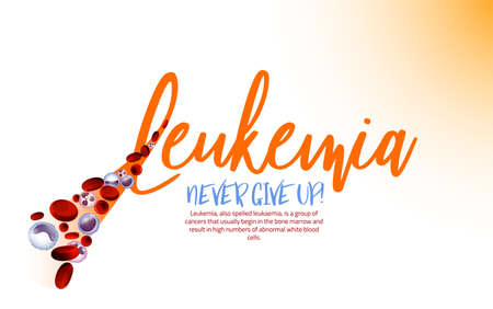 Leukemia logotype. Orange ribbon and blood cells in modern style isolated on light background. Leukaemia disease awareness symbol. Vector illustration. Medical, scientific and healthcare concept.