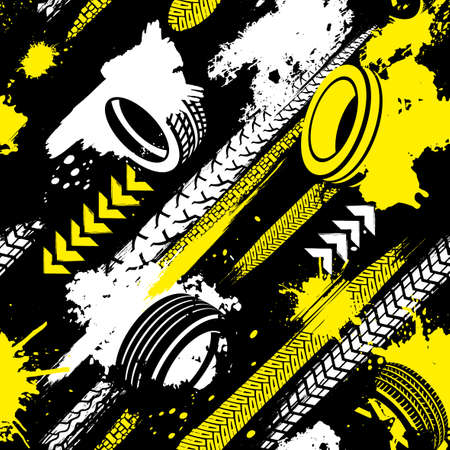Automobile and motorcycle tire tracks seamless pattern. Grunge automotive addon useful for poster, print, leaflet background design. Editable vector illustration in black, yellow, white colors. Illustration